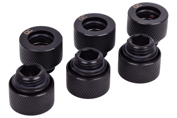 Alphacool HT 12mm HardTube compression fitting G1/4 forcarbon tubes (rigid or hard tubes) - knurled - deep black sixpack
