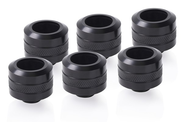 Alphacool Eiszapfen PRO 16mm HardTube fitting G1/4 - deep black sixpack