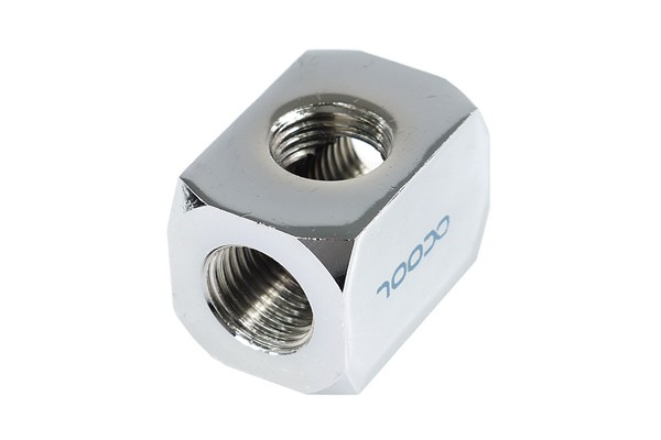 Alphacool connection terminal TEE T-piece round, G1/4 - chrome